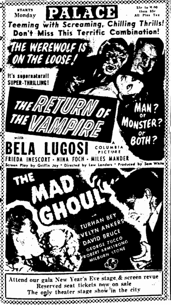 The Return of the Vampire, Rockford Register-Reporter, December 27, 1943