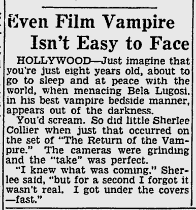 The Return of The Vampire, The Pittsburgh Press, November 11, 1943