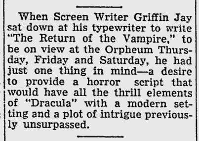 The Return of The Vampire, The Southeast Missourian, January 7, 1944