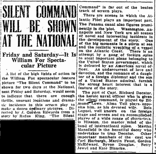 The Silent Command, Greensboro Record, October 21, 1923
