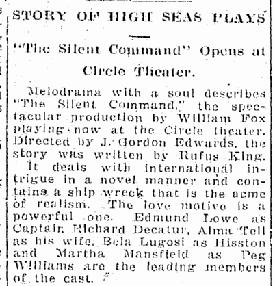 The Silent Command, Origonian, April 13, 1924