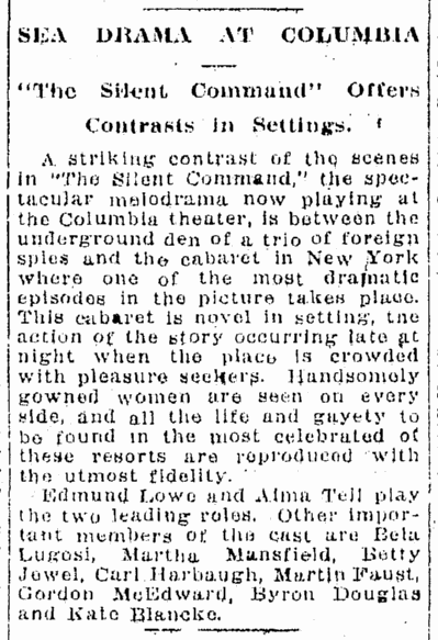 The Silent Command, Origonian, January 13, 1924
