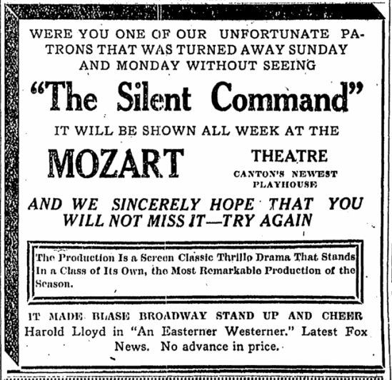 The Silent Command, Repository, April 29, 1924