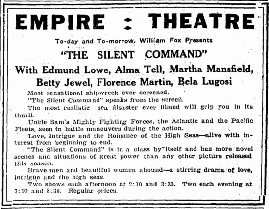 The Silent Command, St Albans Daily Messenger, March 31, 1924.