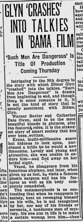 Such Men Are Dangerous, The Tuscaloosa News, March 7, 1930