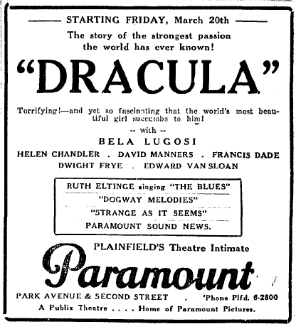 Dracula, The Westfield Leader, March 18, 1931 ad