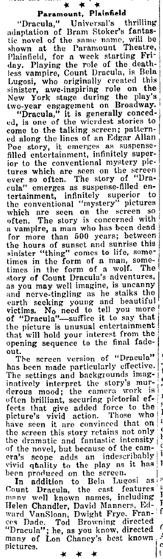 Dracula, The Westfield Leader, March 18, 1931 article