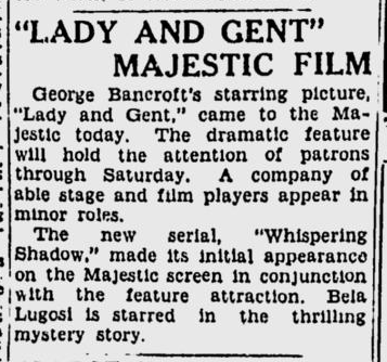 The Whispering Shadow, Spokane Daily Chronicle, August 25, 1933