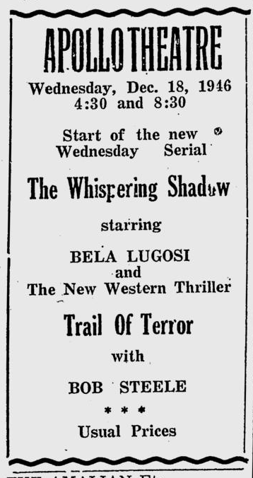 The Whispering Shadow, The Virgin Islands Daily News, December 19, 1946