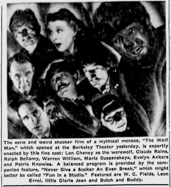 The Wolf Man, Berkeley Daily Gazette, April 1, 1942 b
