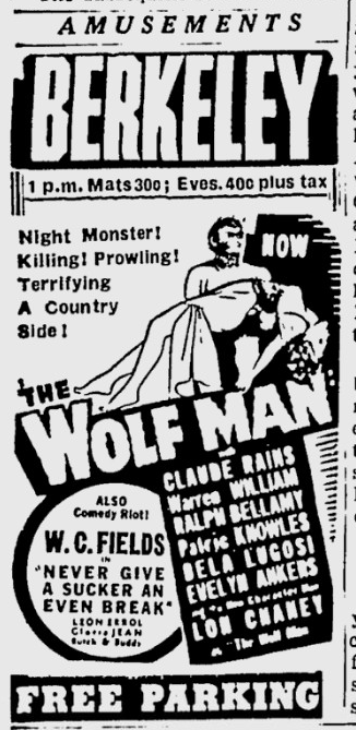 The Wolf Man, Berkeley Daily Gazette, April 1, 1942 c