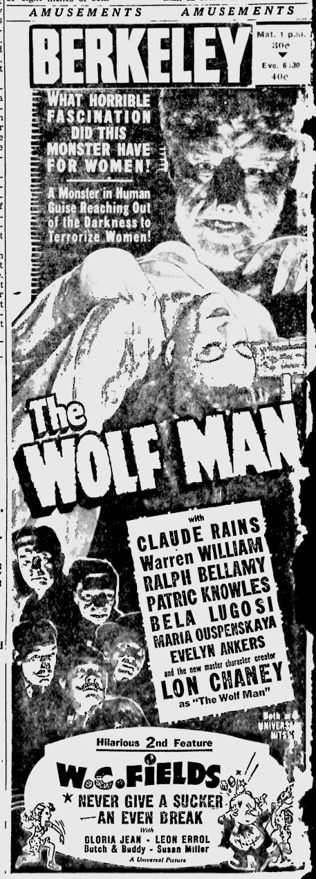 The Wolf Man, Berkeley Daily Gazette, April 1, 1942