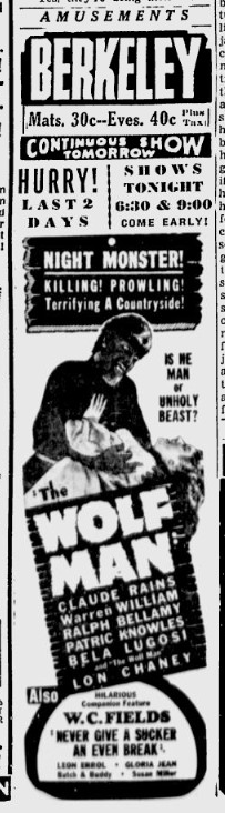 The Wolf Man, Berkeley Daily Gazette, April 3, 1942 b