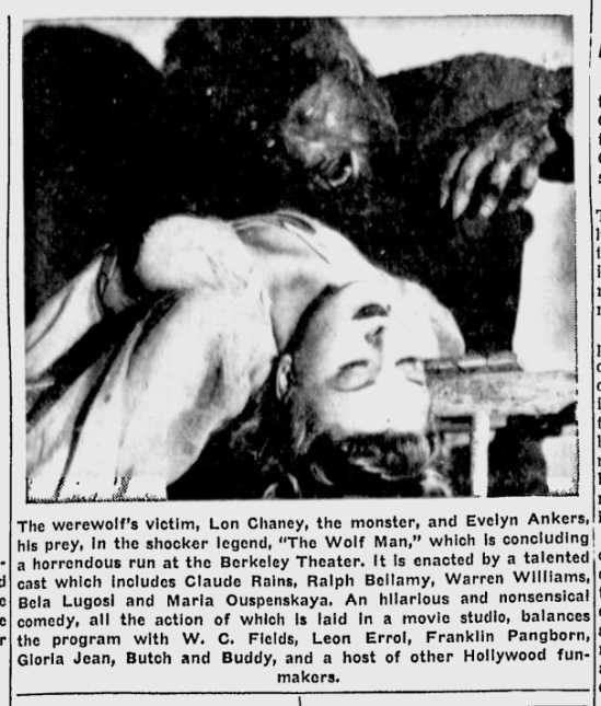 The Wolf Man, Berkeley Daily Gazette, April 3, 1942