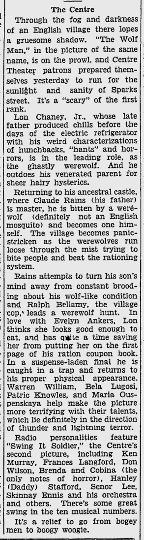 The Wolf Man, Ottawa Citizen, April 1, 1942