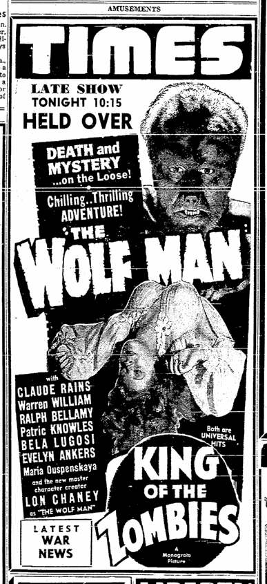 The Wolf Man, Sacremento Bee, January 31, 1942