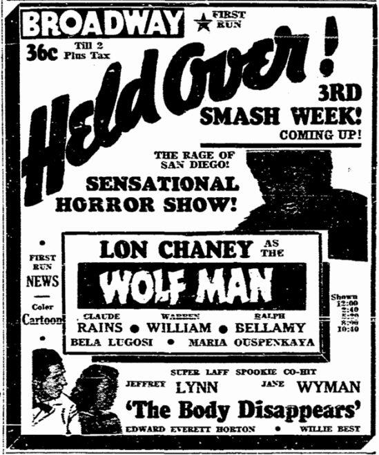 The Wolf Man, San Diego Union, February 15, 1942