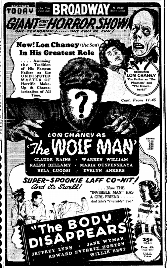 The Wolf Man, San Diego Union, February 4, 1942