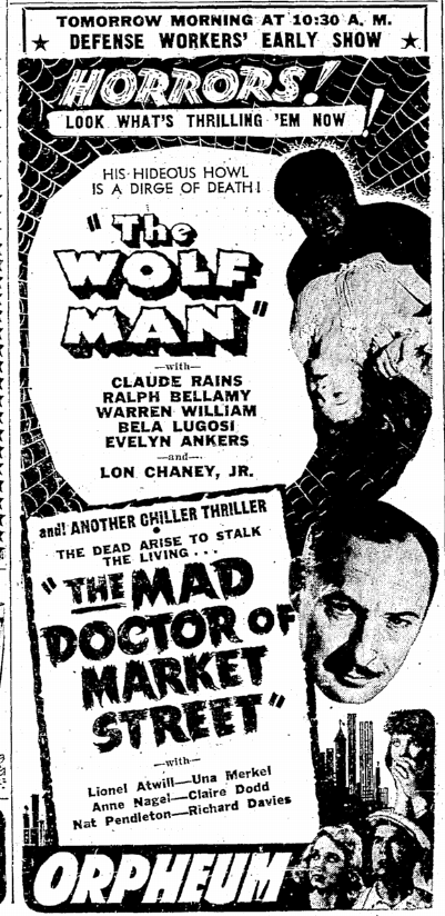 The Wolf Man, Seattle Daily Times, March 27, 1942