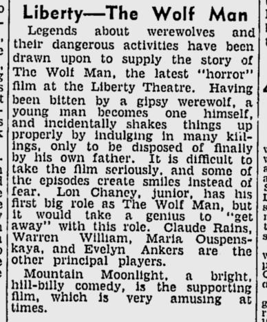 The Wolf Man, The Age, August 1, 1942