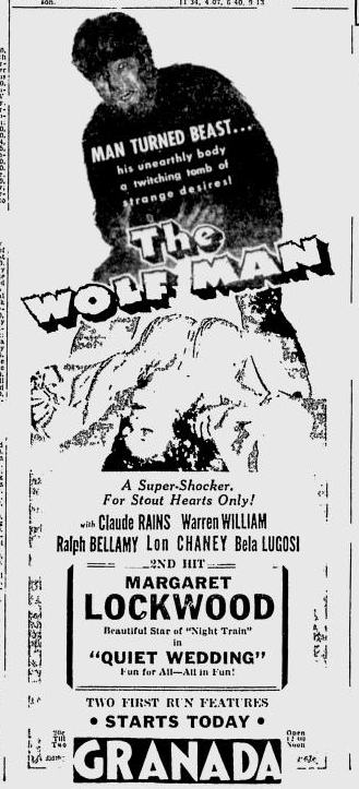 The Wolf Man, The Spokesman-Review, January 31, 1942 a