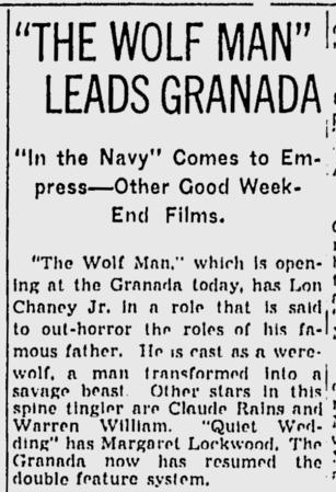 The Wolf Man, The Spokesman-Review, January 31, 1942 b