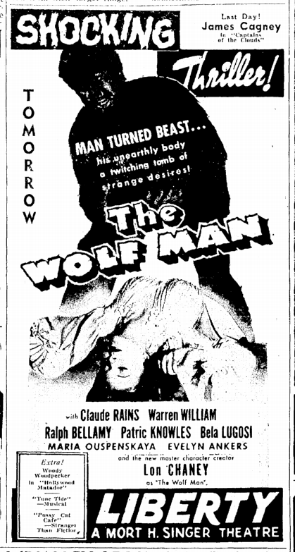 The Wolf Man, The Times-Picayune, April 1, 1942