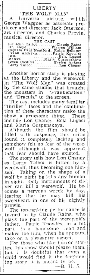 The Wolf Man, The Times-Picayune, April 3, 1942