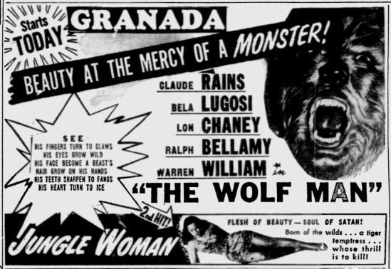 The Wolf Man, Toledo Blade, October 7, 1949