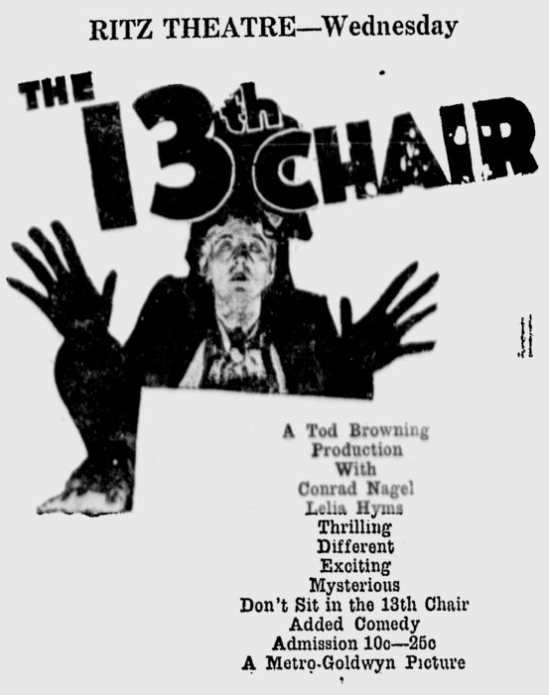 The 13th Chair, Times Daily, March 14, 1930