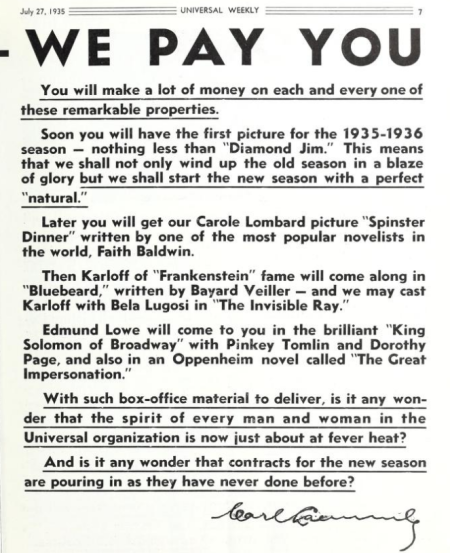 Unversal Weekly, July 27, 1935
