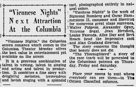Viennese Nights, Ottawa Citizen, March 7, 1931 1