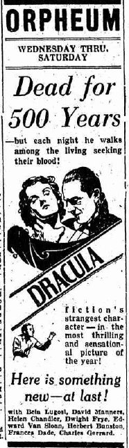 Dracula vintage cinema ads