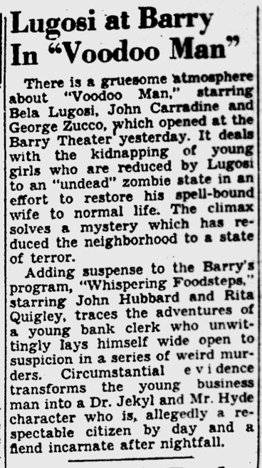 Voodoo Man, Pittsburgh Post-Gazette, February 24, 1944