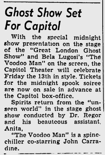 Voodoo Man, The Deseret News, October 10, 1950