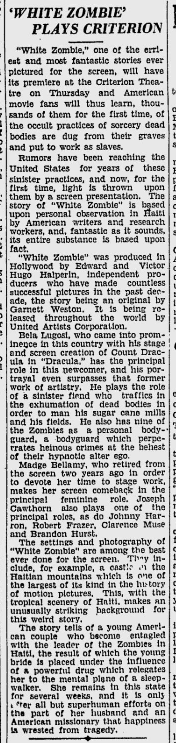 White Zombie, Herald-Journal, July 30, 1933
