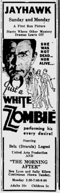 White Zombie, Lawrence Journal-World, October 24, 1936