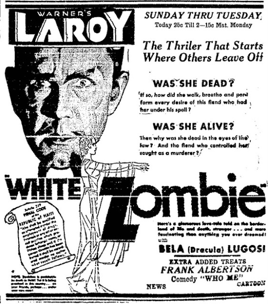 White Zombie, Newspaper Ad