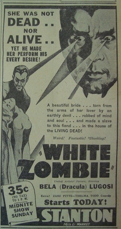 White Zombie, Philadelphia Public Ledger August 13, 1942