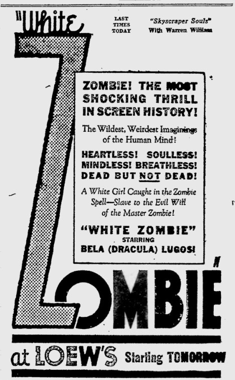 White Zombie, Reading Eagle, August 11, 1932 a
