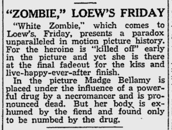 White Zombie, Reading Eagle, August 10, 1932 c