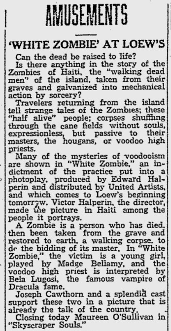 White Zombie, Reading Eagle, August 11, 1932 b