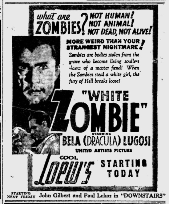 White Zombie, Reading Eagle, August 12, 1932 a