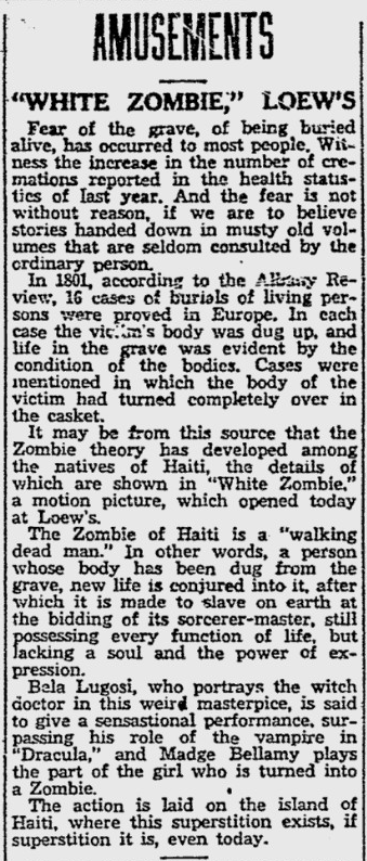 White Zombie, Reading Eagle, August 12, 1932 b