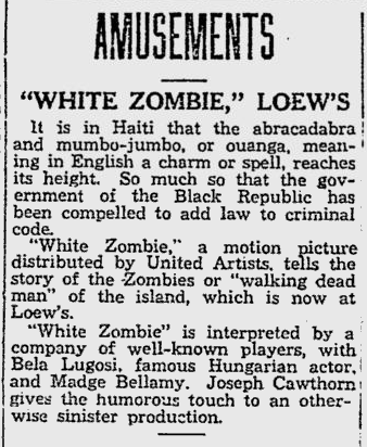 White Zombie, Reading Eagle, August 15, 1932