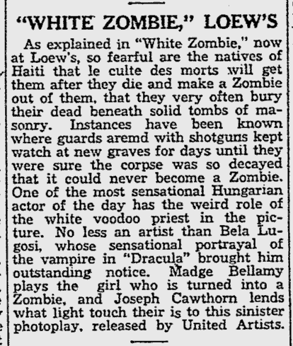White Zombie, Reading Eagle, August 17 1932 b