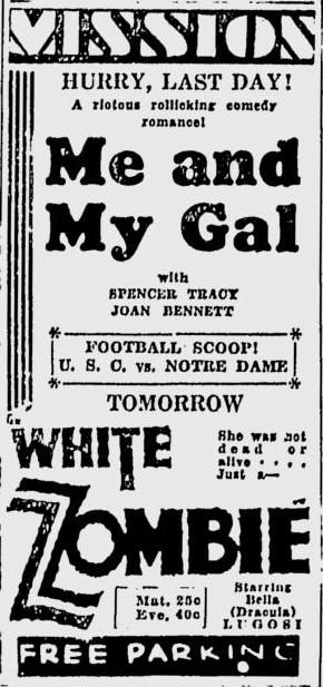 White Zombie, San Jose Evening News, December 14, 1932