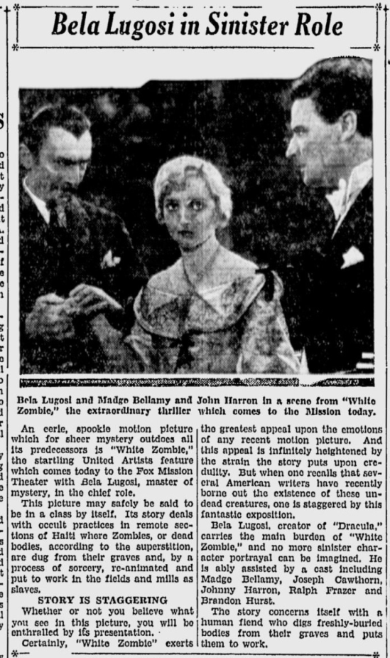White Zombie, San Jose Evening News, December 15, 1932 b
