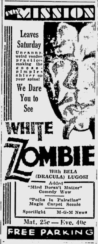 White Zombie, San Jose Evening News, December 15, 1932