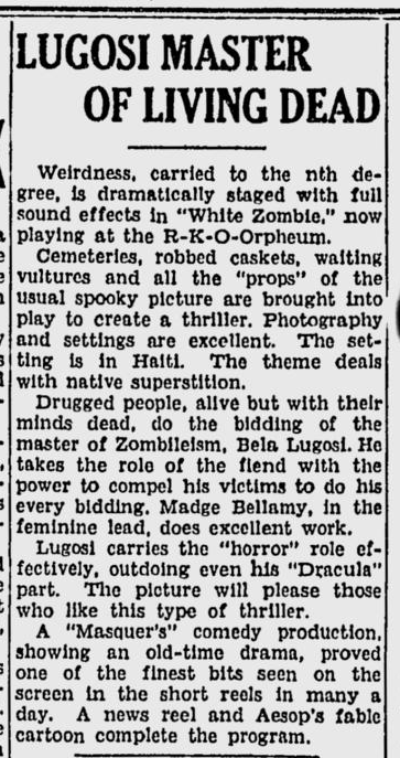 White Zombie, Spokane Daily Chronicle, September 15, 1932 b
